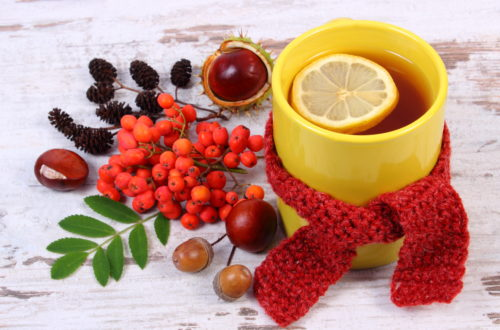 Cup of tea with lemon wrapped woolen scarf, warming beverage for autumn or wintet